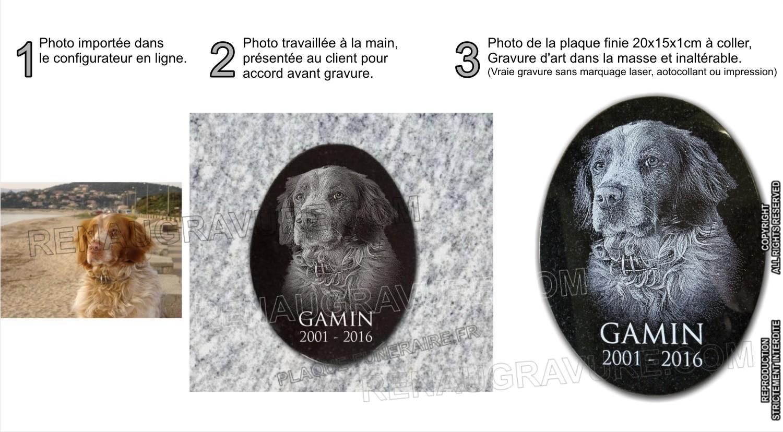 Portrait d'un chien gravé sur médaillon ovale en granit 20x15x1cm