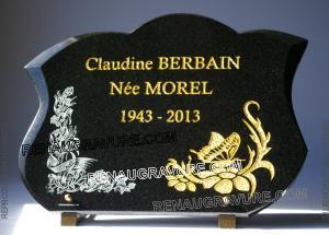 Photo de : plaque de cimetière fleurs et dorure