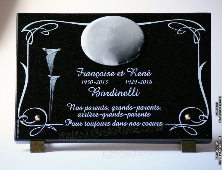 plaque de tombe avec photo porcelaine fleurs arums et texte fun raire. Black Bedroom Furniture Sets. Home Design Ideas