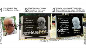 Photo de : plaque de cimetière forme livre ouvert avec photo portrait du défunt.