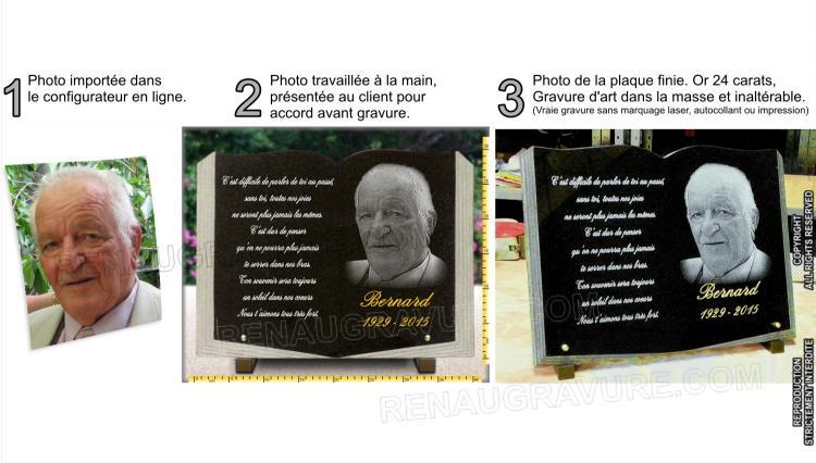 Plaque funéraire forme livre ouvert avec photo portrait du défunt.