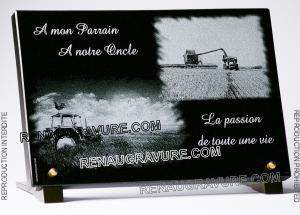 Photo de : plaque de cimetière personnalisée avec tracteur pour agriculteur, fermier et campagne.