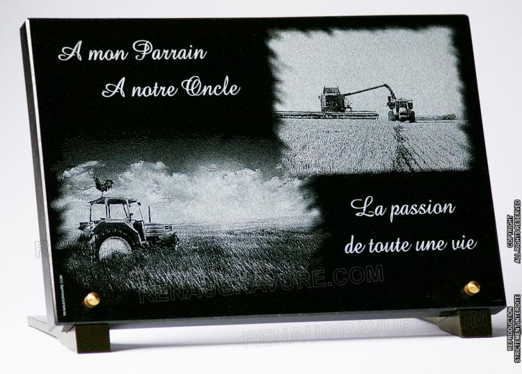 Plaque funéraire pour agriculteur, exploitant fermier.