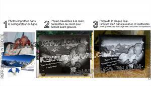 Photo de : Plaque photo avec gravure de 2 portraits et paysage de montagne.