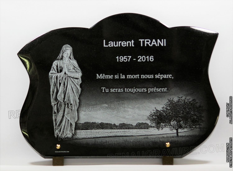 Vierge sur une plaque fun raire granit personnalisable - Plaque funeraire originale ...