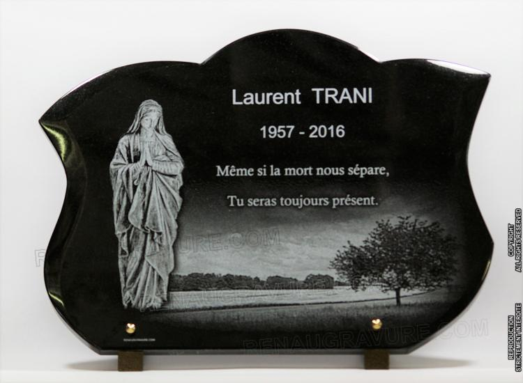Model of funeral plaque personalized with Virgin Mary