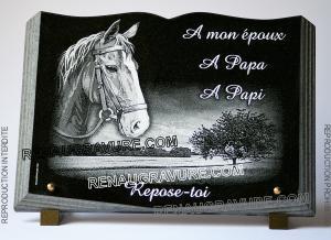 Photo de : Plaque funéraire livre avec cheval et dessin campagne.