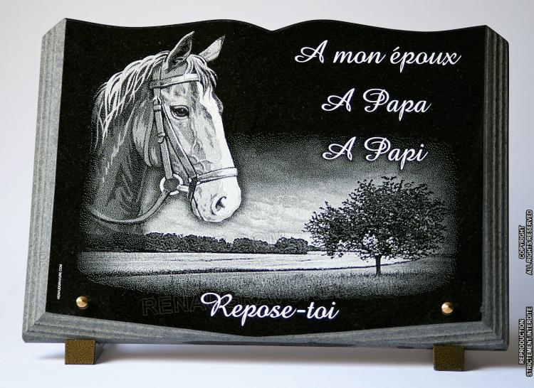plaque mortuaire en granit forme livre avec cheval et dessin campagne. Black Bedroom Furniture Sets. Home Design Ideas