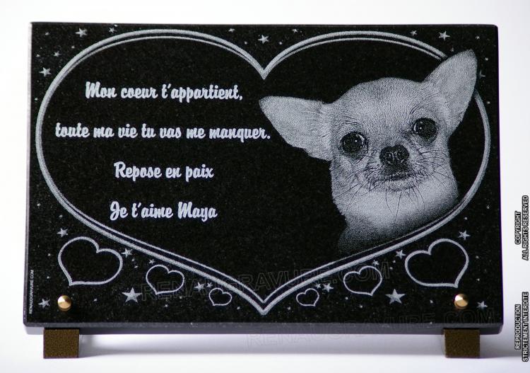 Plaque funeraire coeur avec chien