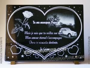 Photo de : Belle plaque funéraire coeur avec fleur rose et citroen 2cv