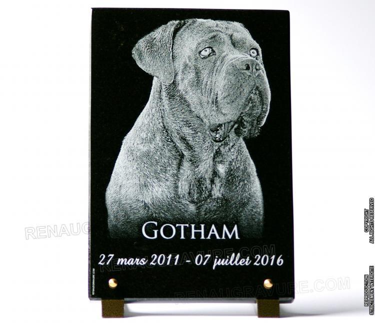 Plaque funéraire pour chien à personnaliser.