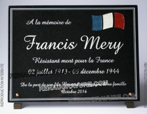Photo de : plaque mortuaire ancien combattant personnalisable.