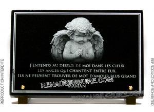 Photo de : Plaque mortuaire avec ange pour monument funéraire.