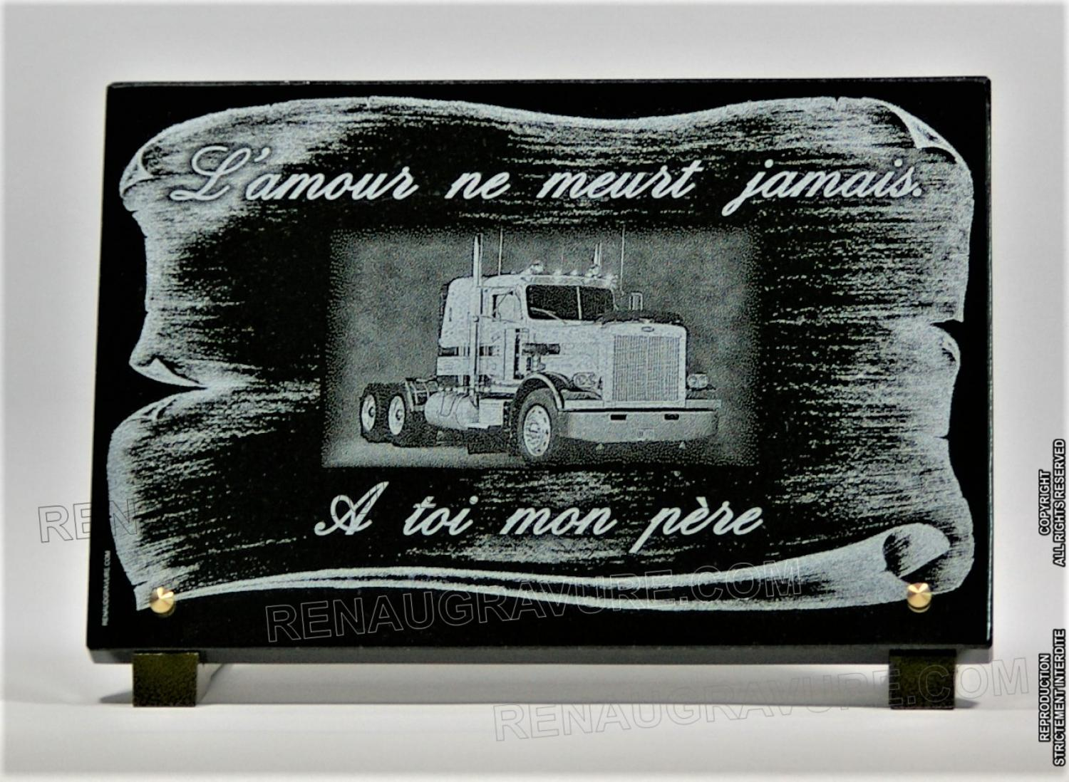 plaque fun raire parchemin et camion personnalisable. Black Bedroom Furniture Sets. Home Design Ideas