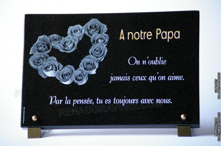 Heart funeral plaque with roses