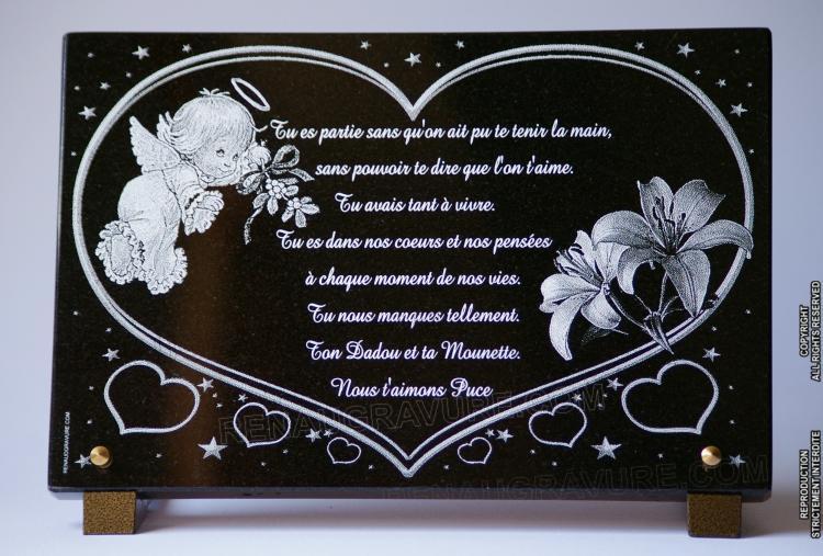 Plaque funéraire coeurs, ange et fleurs