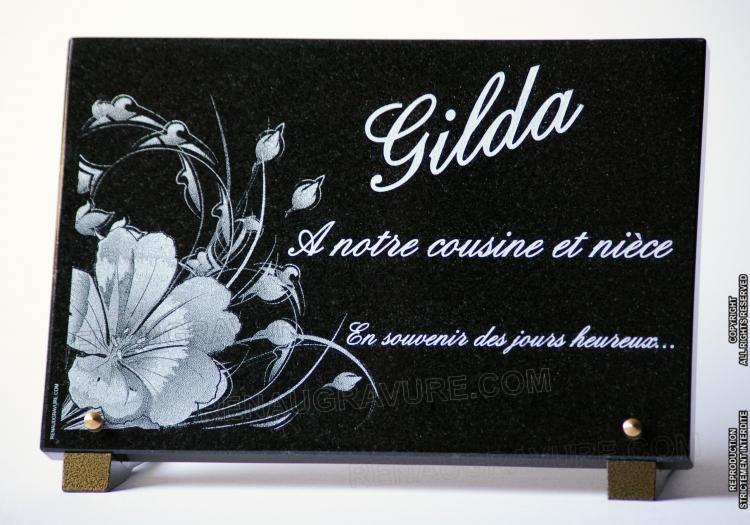 Plaque mortuaire personnalisée avec dessin fleurs modernes