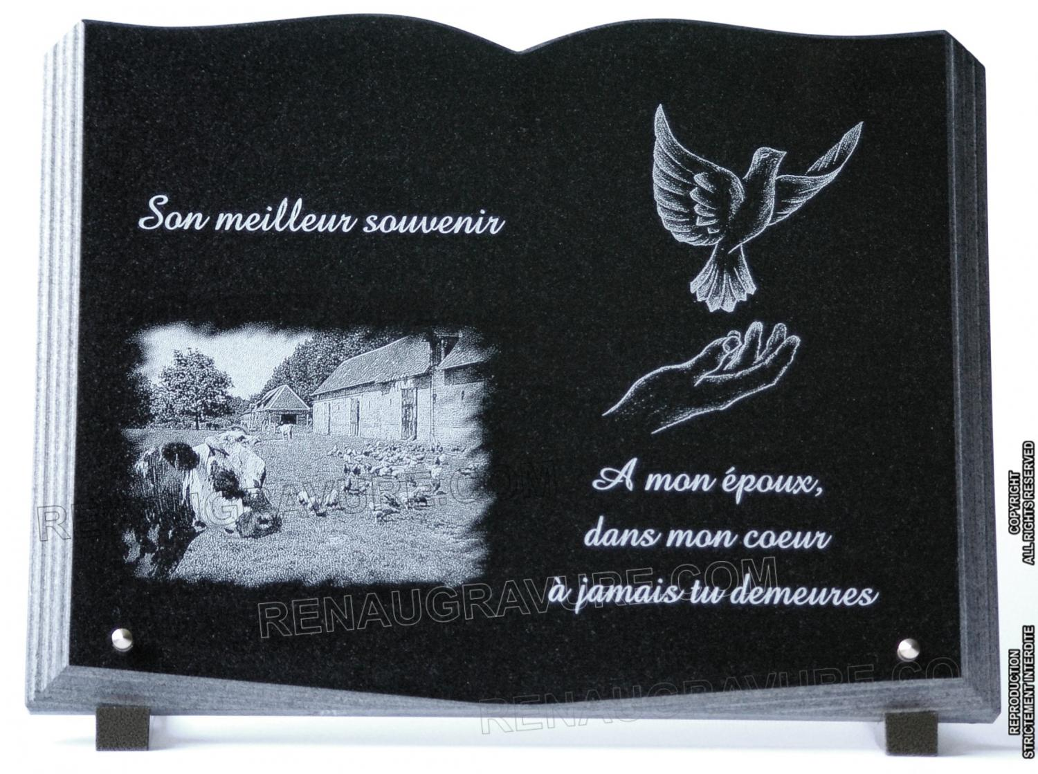 plaque fun raire livre en granit avec photo. Black Bedroom Furniture Sets. Home Design Ideas