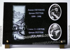 Photo de : Plaque funéraire en granit avec photos porcelaine