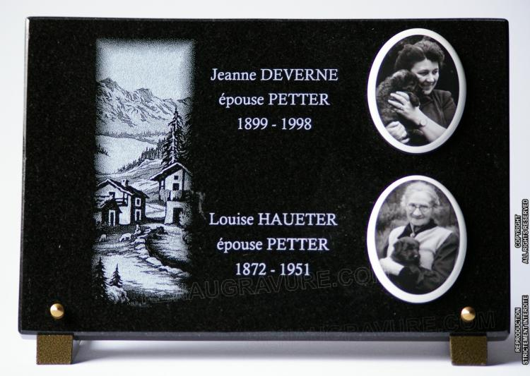 plaque fun raire en granit avec photos porcelaine. Black Bedroom Furniture Sets. Home Design Ideas