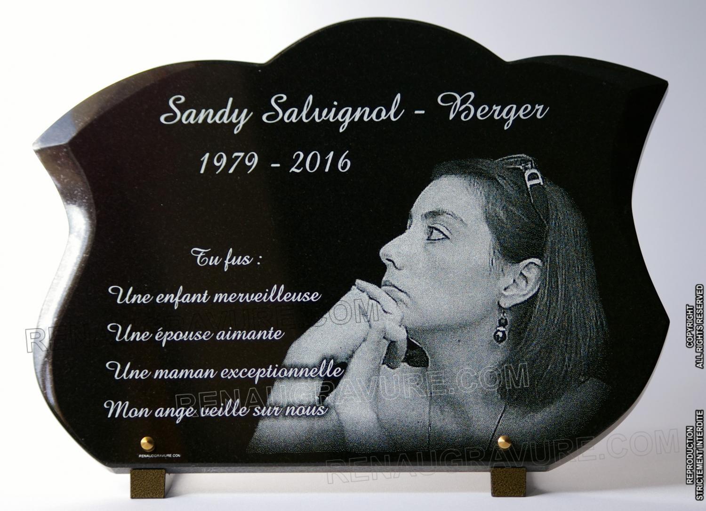 Très belle plaque mortuaire 40x30cm avec portrait d'art gravé.