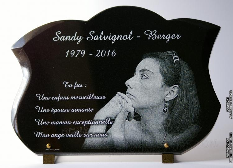 grave plaque with engraved photo
