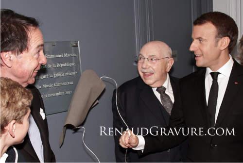 Musée Clemenceau Inauguration Mr Macron RENAUD-Gravure