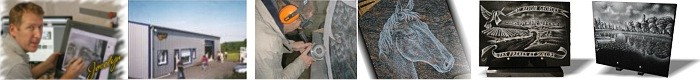 Photos of engraving on granite or glass memorial plaques