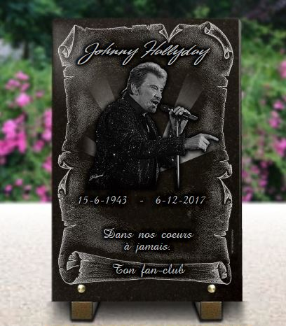 Plaque funeraire personnalisable photo Johnny Hallyday