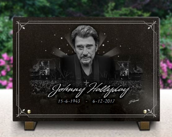 Plaque tombale personnalisable avec photo Johnny Hallyday
