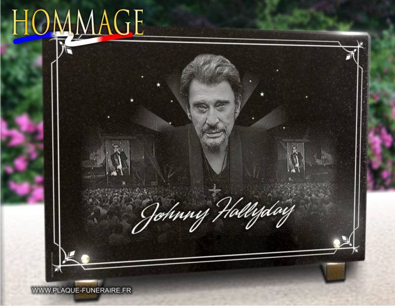 Plaque mortuaire personnalisable avec photo de Johnny Hallyday