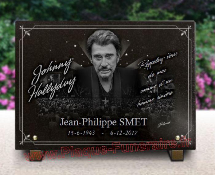 Plaque avec photo Johnny Hallyday