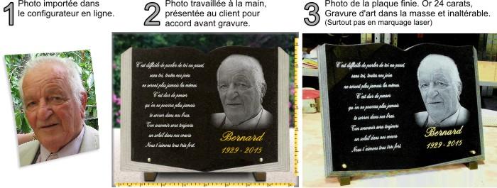 Plaque funéraire livre ouvert en granit avec portrait photo.