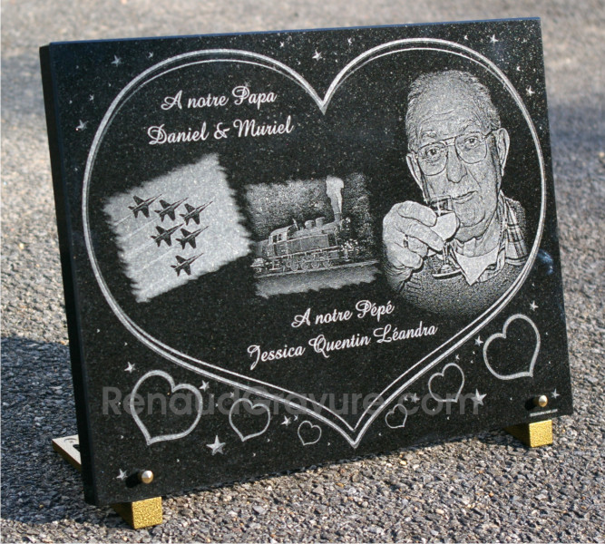Personalised memorial plaque engraved, etched photo portrait.