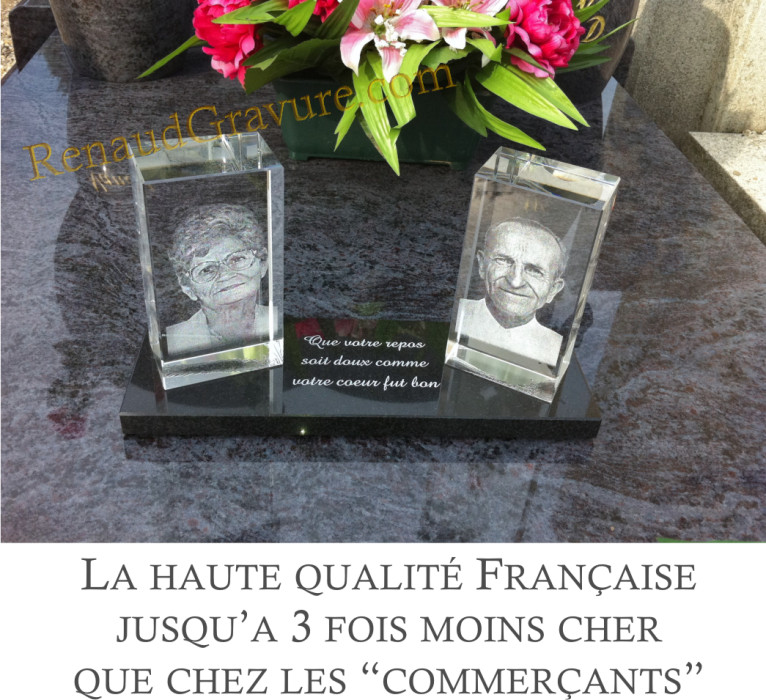 plaque fun raire moderne avec photo sur bloc de verre sur granit 1. Black Bedroom Furniture Sets. Home Design Ideas
