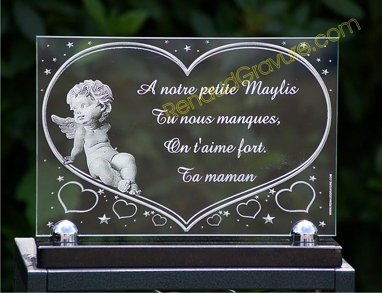 Plaque funeraire ange en verre.