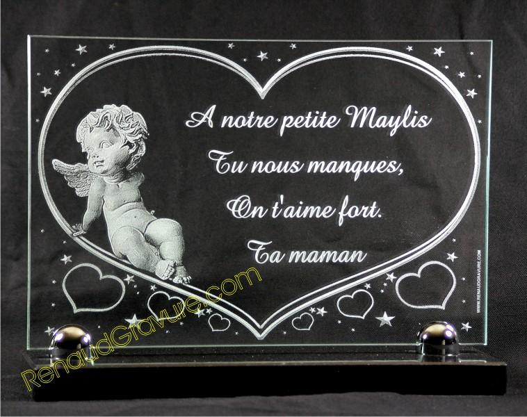 Plaque funéraire en verre avec ange et coeur