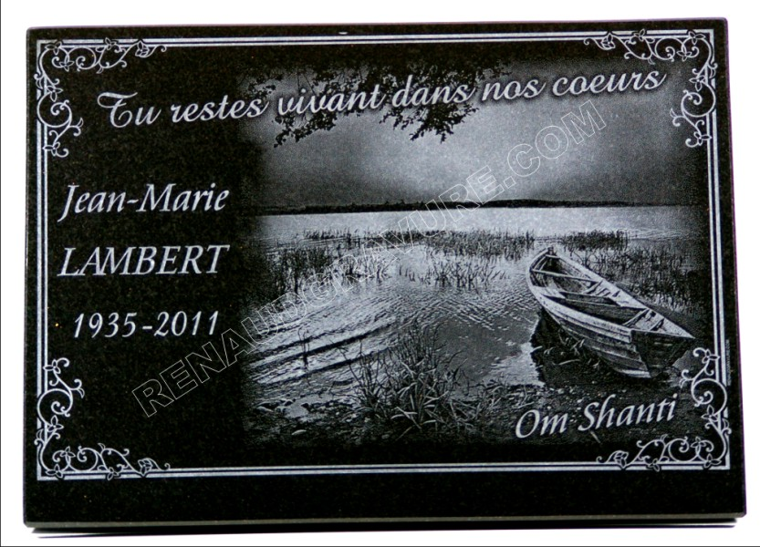 fisherman's funeral plaque with boat and lake