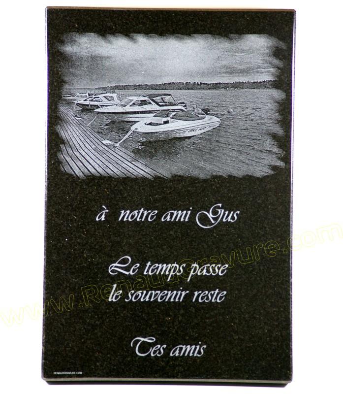 Plaque funeraire bateau de pêche