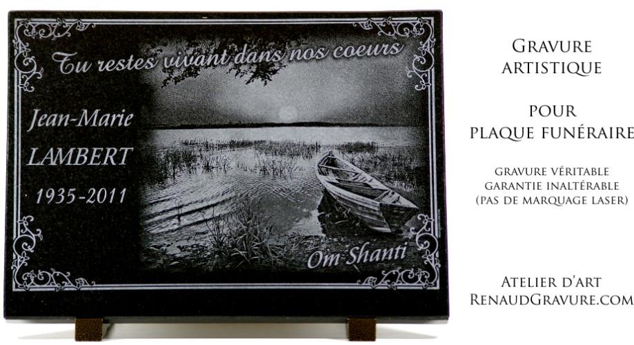 Plaque funéraire personnalisée avec barque de pêcheur