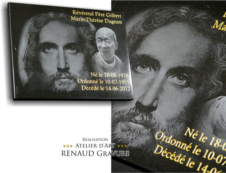 Plaque de ciemtière avec portrait Jésus Christ