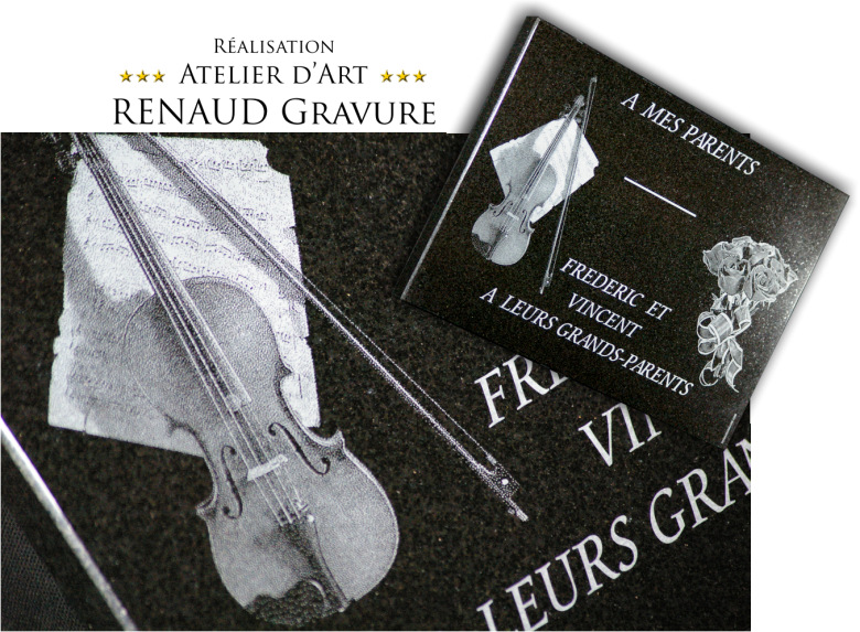 granite grave plaque with violin and bouquet of roses