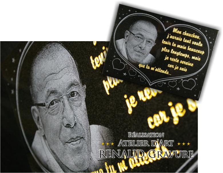 Portrait et photogravure pour plaque mortuaire � personnaliser en ligne.