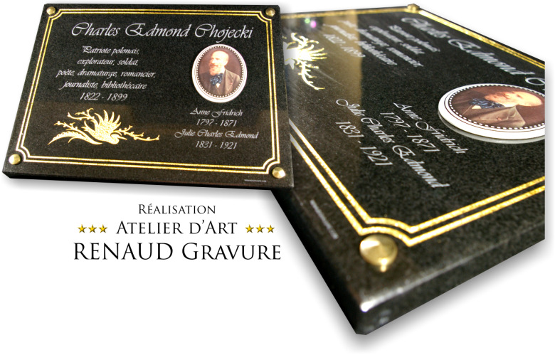 granite funeral plaque with gilding and porcelain photo