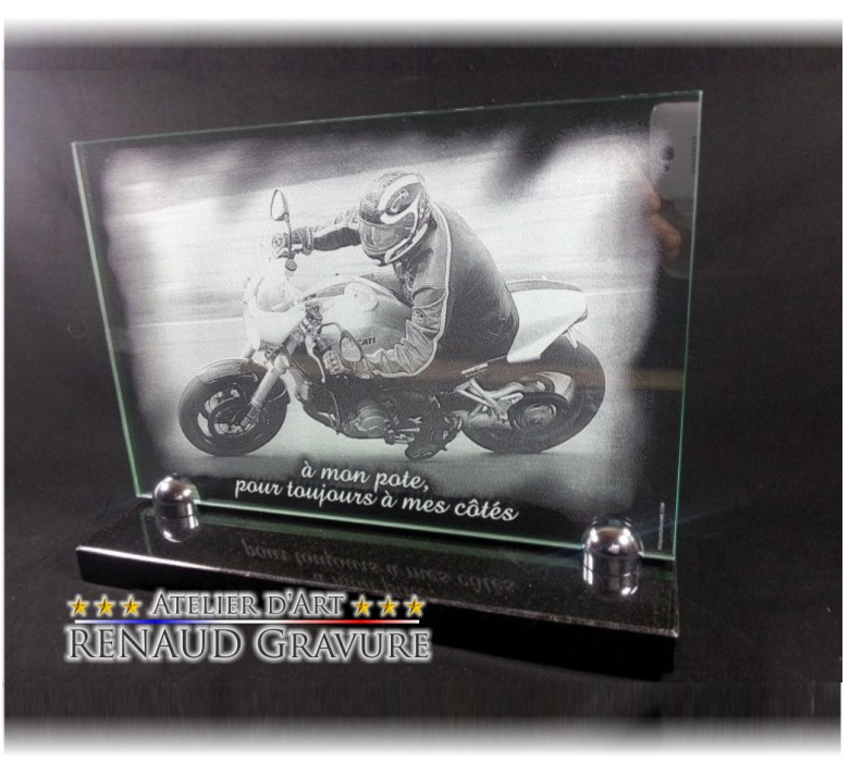 Glass memorial plaque with engraving of a biker