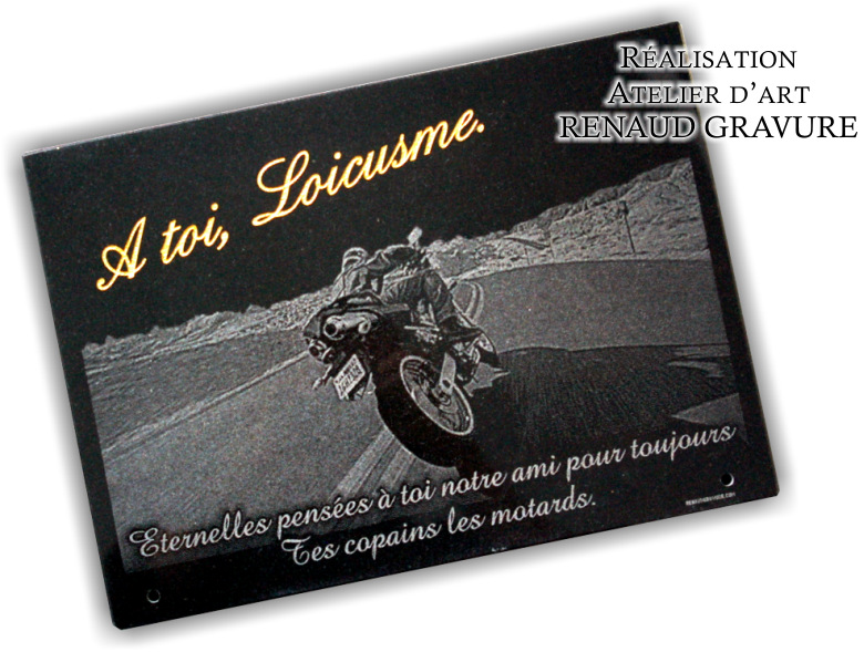 biker engraved on a plaque of a grave monument