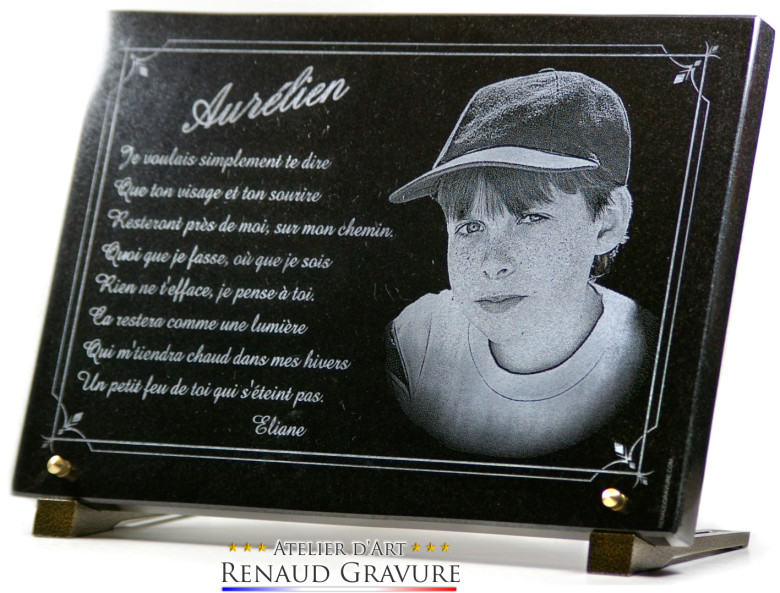 Photo portrait of a boy engraved in granite for a beautiful funeral plaque or garden plaque for memorial