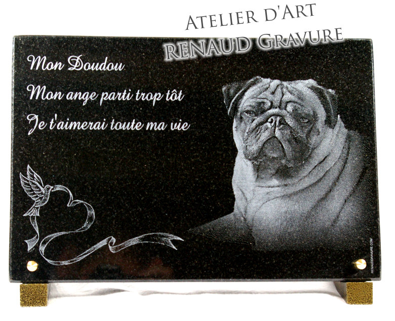 Funerary plate of an English bulldog