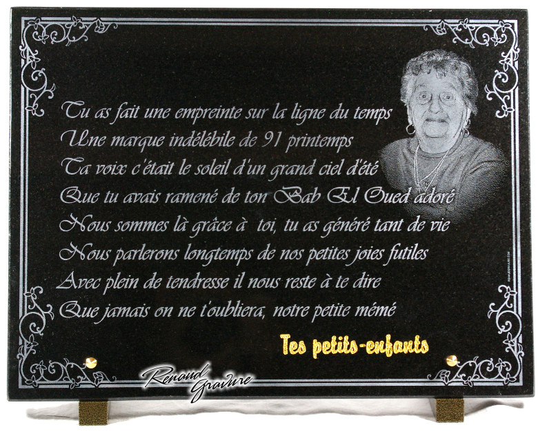 photo gravure de portraits sur plaque funeraire. Black Bedroom Furniture Sets. Home Design Ideas