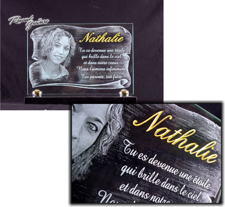 Glass funeral plaque engraved with photoengraving of the deceased's portrait.